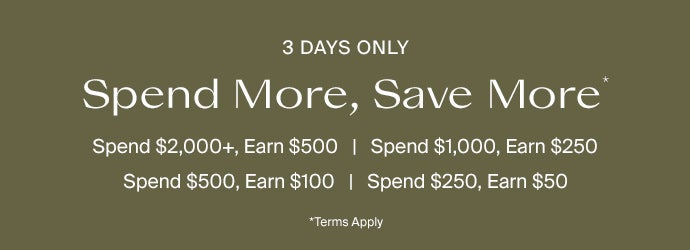 Spend $2000+, Earn $500. Spend $1000, Earn $250. Spend $500, Earn $100. Spend $250, Earn $50. Terms Apply*