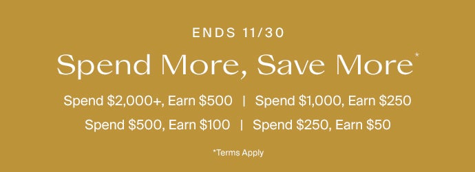 Spend $2000+ and Earn $500. Spend $1,000 and Earn $250. Spend $500 and Earn $100. Spend $250 and Earn $50. Terms Apply*